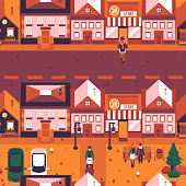 Vector autumn city landscape with wide road with houses, people walking on streets, couple sitting at street bench under streetlight. Background in orange for game level map design or decoration