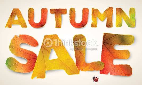 vector autumn sale words made from autumn leaves vector art thinkstock