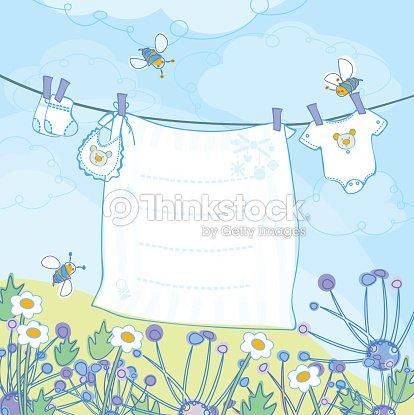 Vector baby boy shower card. : stock vector