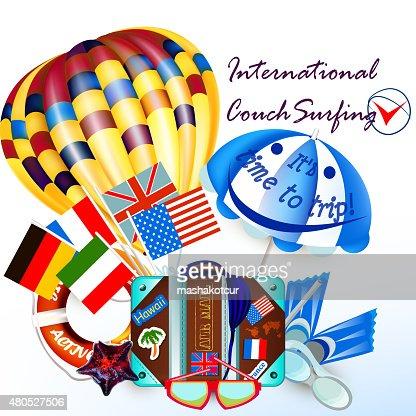 Vektor Hintergrund mit Heißluftballon und Koffer Urlaub symbol : Vektorgrafik