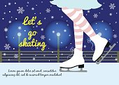 "Vector background with feet in figure skates on the winter background with text ""Let's go skating""."