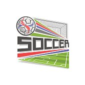 Vector badge for Soccer game, icon in shape of rhombus for football club, ball flying above sports field in goal gate with net, modern sign with soccer ball, design badge for soccer academy or school.