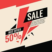 Vector banner best selling in flat design, retro style. Can be used as poster, flyer or template for online store