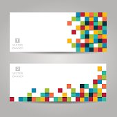 Abstract vector banner with colorful squares