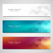 Vector banners for medicine, science and digital technology. Geometric abstract background with hexagons design. Molecular structure and chemical compounds
