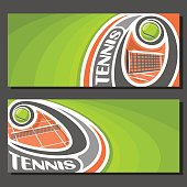 Vector banners for Tennis game: tennis ball flying on curve trajectory above net on clay court, 2 template tickets to sporting tournament with empty field for title text on green abstract background.