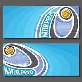 Vector banners for Water Polo game: water polo ball flying on curve above waterpolo swimming pool, 2 tickets to sporting tournament with empty field for title text on turquoise abstract background.