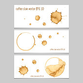 Vector banners with coffee stain watercolor. Abstract watercolor. Abstract hand drawn watercolor banner, vector illustration.