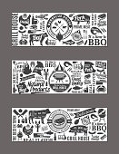 Vector barbecue banners. BBQ, meat, vegetables, beer, wine and equipment icons for cafe, bar and restaurant menu, branding and identity