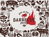 Vector barbecue party invitation. BBQ, meat, vegetables, beer, wine and equipment icons for cafe, bar and restaurant menu, branding and identity