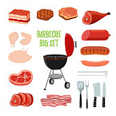 Vector barbecue set - different meat - chicken, ham, sausage, bacon, sirloin, bbq stand, fork, spatula, skewers. Made in cartoon flat style