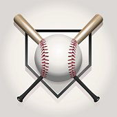 A baseball illustration made for a ball and two crossed bats over home plate. Vector EPS contains transparencies and gradient mesh.