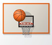 vector basketball net and backboard set, ball dunk in the hoop. EPS10. Contains transparent objects