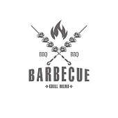 vector illustration barbecue badges, emblem on white background, for advertising and menu design