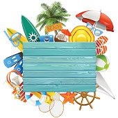 Vector Beach Concept with Blue Board isolated on white background