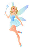 Beautiful blue fairy with magic wand and dragonfly wings. Cartoon style illustration isolated on white background.
