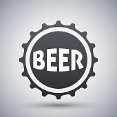 Vector beer bottle cap icon on a gray background with shadow