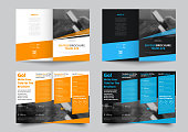 Vector bifold brochure for business and advertising. The template is black and white with blue and yellow dice for information. Design for printing and advertising.