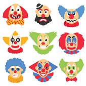 Vector big set with different clowns cartoon. Vector pack with scary, crazy and funny clown.