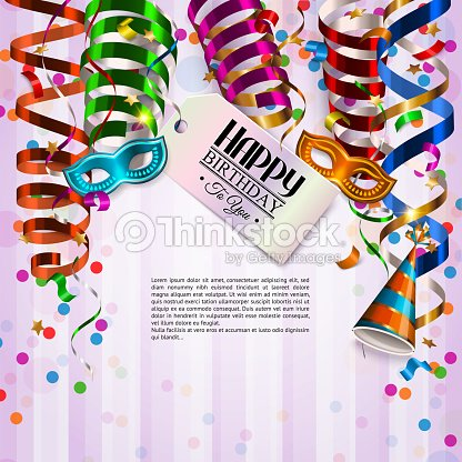 Vector birthday card with colorful curling ribbons, birthday mask, hat and confetti.