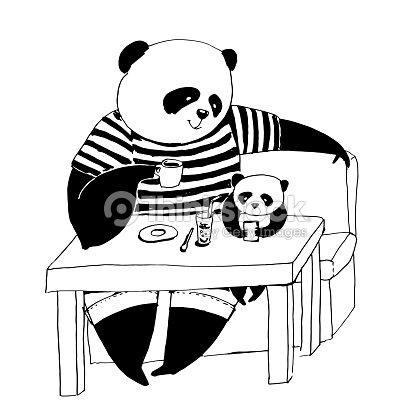 Ilustración De Vector Blanco Y Negro Para Colorear Libro Padre Panda ...