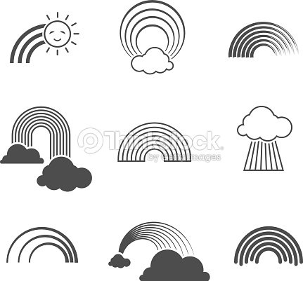 a9c034ab728d85 Vector black and white rainbow icons. Summer rainbows signs isolated on  background