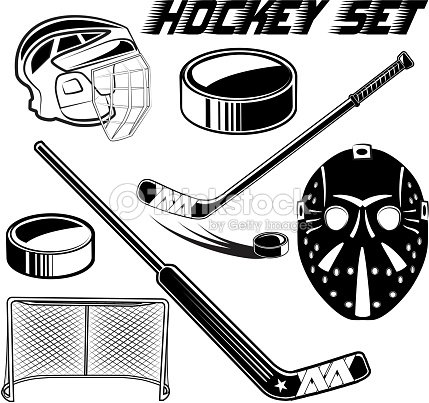 Vector black and white set objects game hockey design advertising web print on a white background