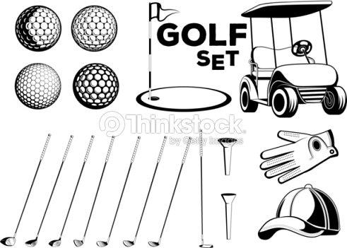 vektor schwarzwei set golf club designelemente f r den einsatz in verschiedenen arten von. Black Bedroom Furniture Sets. Home Design Ideas