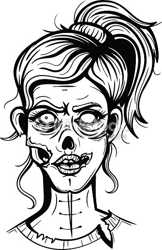 Vector black and white zombie girl illustration vector art
