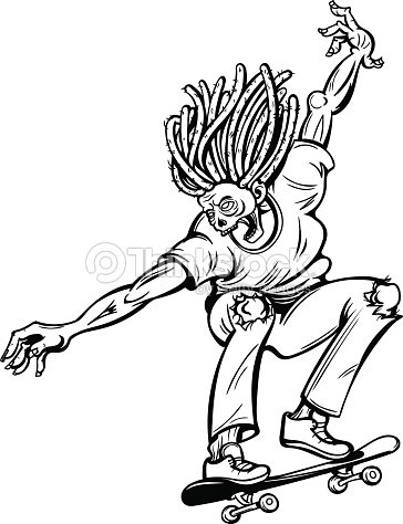 Vector black and white zombie skater illustration vector art