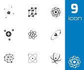 Vector black atom icons set on white background