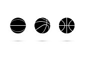 Vector black basketball ball icon set isolated on white background.