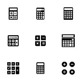 Vector black calculator icons set on white background