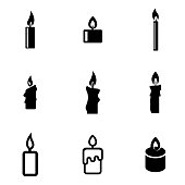 Vector black candles icon set