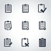 Vector black check list icon set
