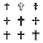 Vector black christia crosses icons set on white background
