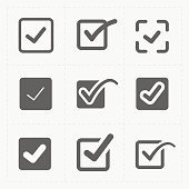 This is a vector illustration of Vector black confirm icons set