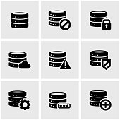Vector black database icon set.