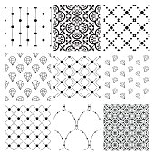 Set of 9 Black Decorative Seamless Background Patterns with Dots, Arabesque Ornaments and Diamonds. Vector Illustration. Pattern Swatches