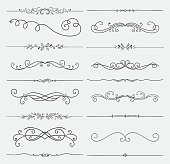 Set of Black Hand Drawn Rustic Doodle Design Elements. Decorative Floral Swirls, Scrolls, Text Frames, Dividers. Vintage Vector Illustration.