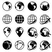 Vector black earth globe icons. Planet globe monochrome and world globe of set illustration