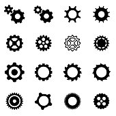 Vector black gear icon set on white background