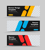 Vector black horizontal web banners design with place for photo and color rectangles with rounded corners. Templates are standard size.