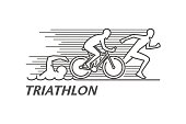 Vector black line logo triathlon. Figures triathletes on a white background. Swimming, cycling and running symbol. Open path.
