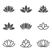 Vector black lotus icons set on white background