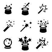 Vector black magic icons set