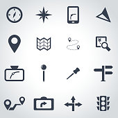 Vector black navigation icon set on grey background