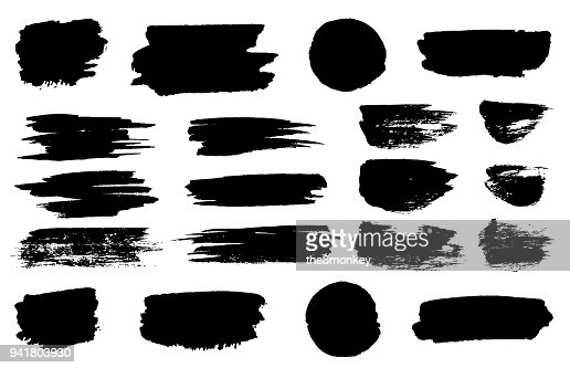 Vector black paint brush spots, highlighter lines or felt-tip pen marker horizontal blobs. Marker pen or brushstrokes and dashes. Ink smudge abstract shape stains and smear set with texture : Vector Art
