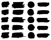 Vector black paint brush spots, highlighter lines or felt-tip pen marker horizontal blobs. Marker pen or brushstrokes and dashes. Ink smudge abstract shape stains and smear set with texture.
