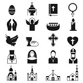 Vector black religion icon set. Cross christianity god church religion icons religious bible set. Christian jesus silhouette isolated religion icons traditional dove candle star black symbol.